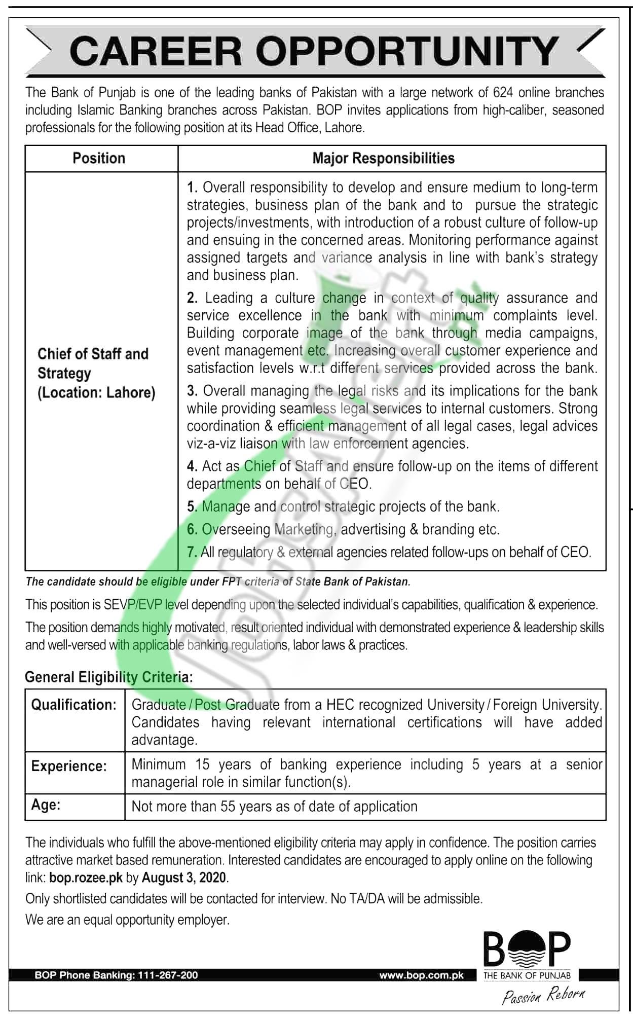 www.bop.com.pk Jobs