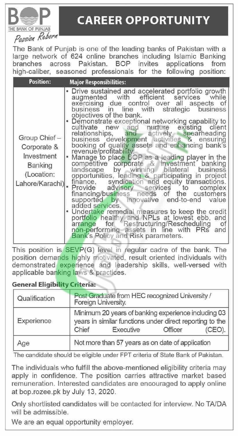 Group Chief - Corporate & Investment Banking Jobs