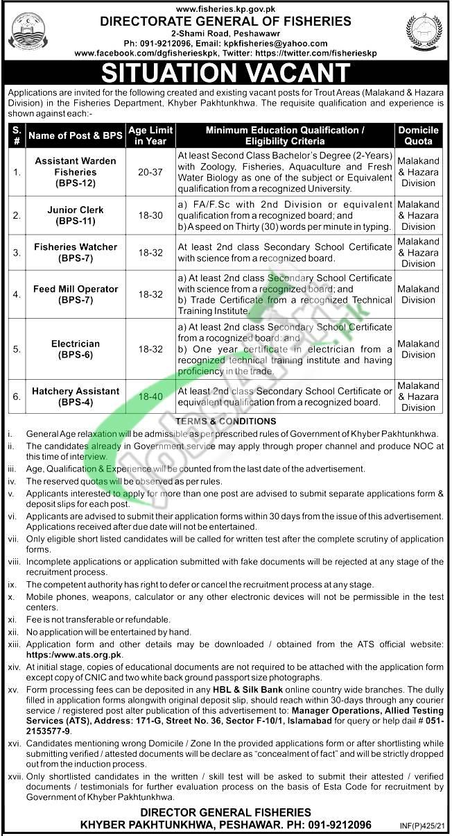 Fisheries Department KPK Jobs