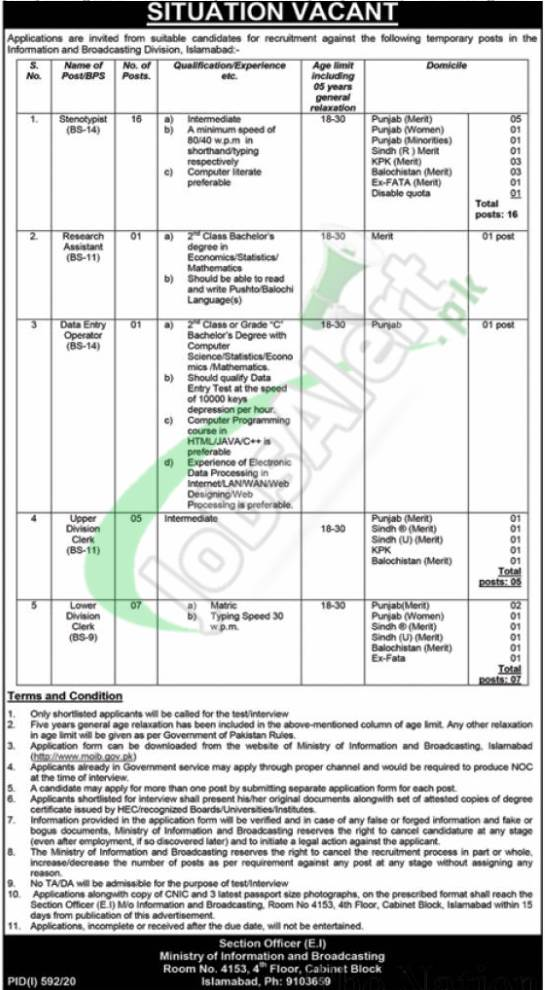Ministry of Information & Broadcasting Jobs
