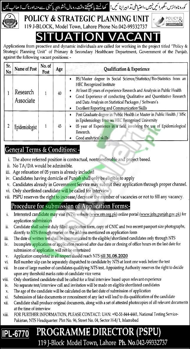 Policy and Strategic Planning Unit Punjab Jobs