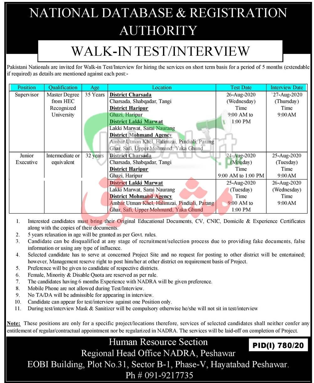 NADRA Peshawar Jobs