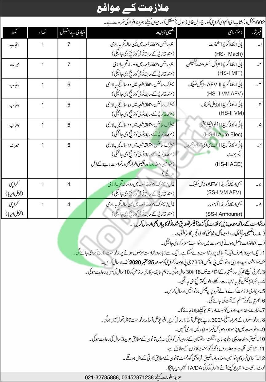 602 Regional Workshop EME Karachi Jobs