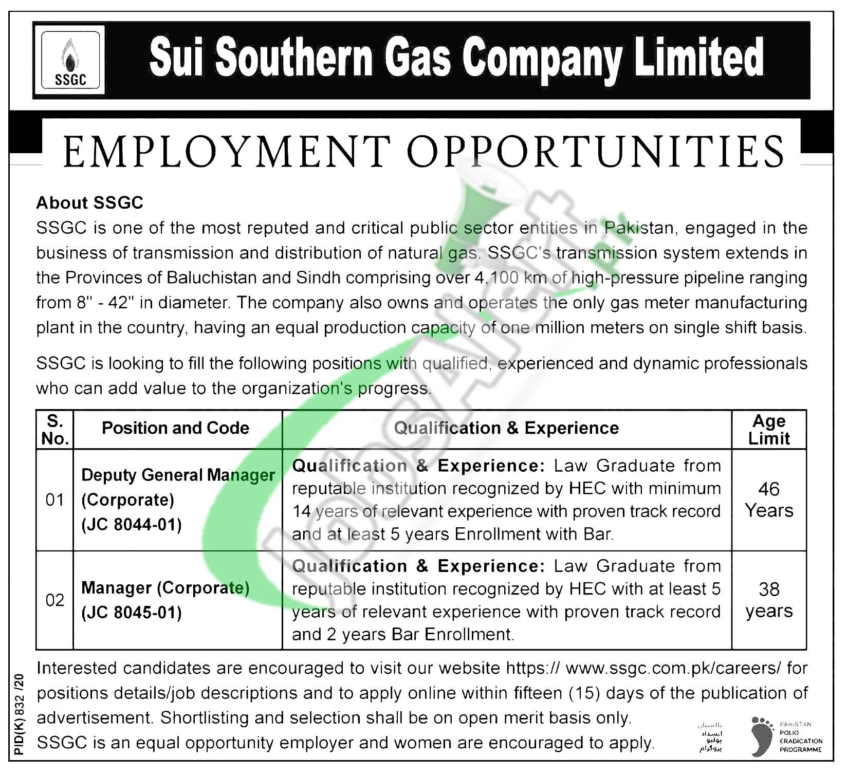 SSGC Jobs 2020