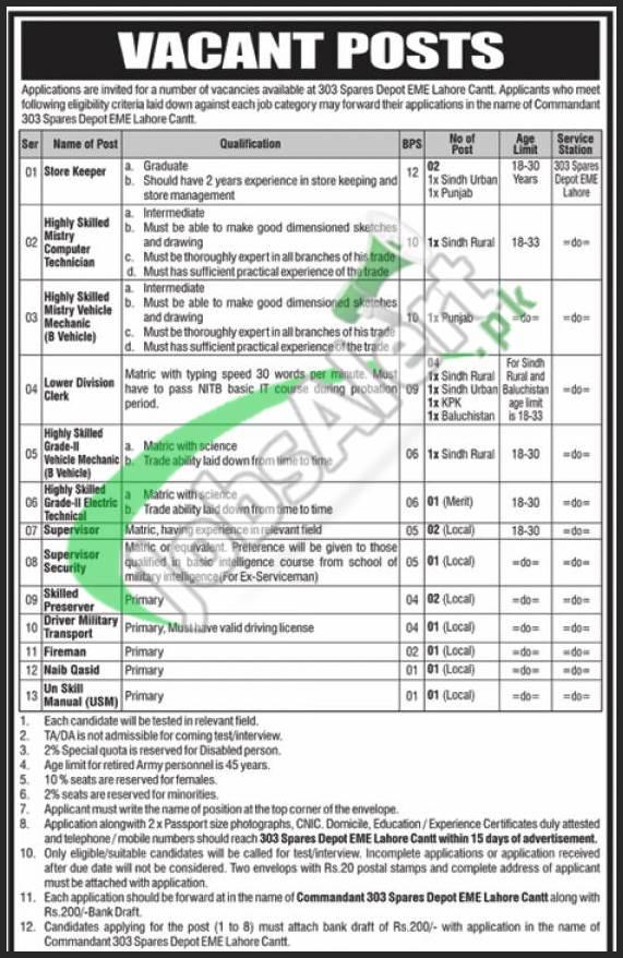 303 Spares Depot EME Lahore Jobs