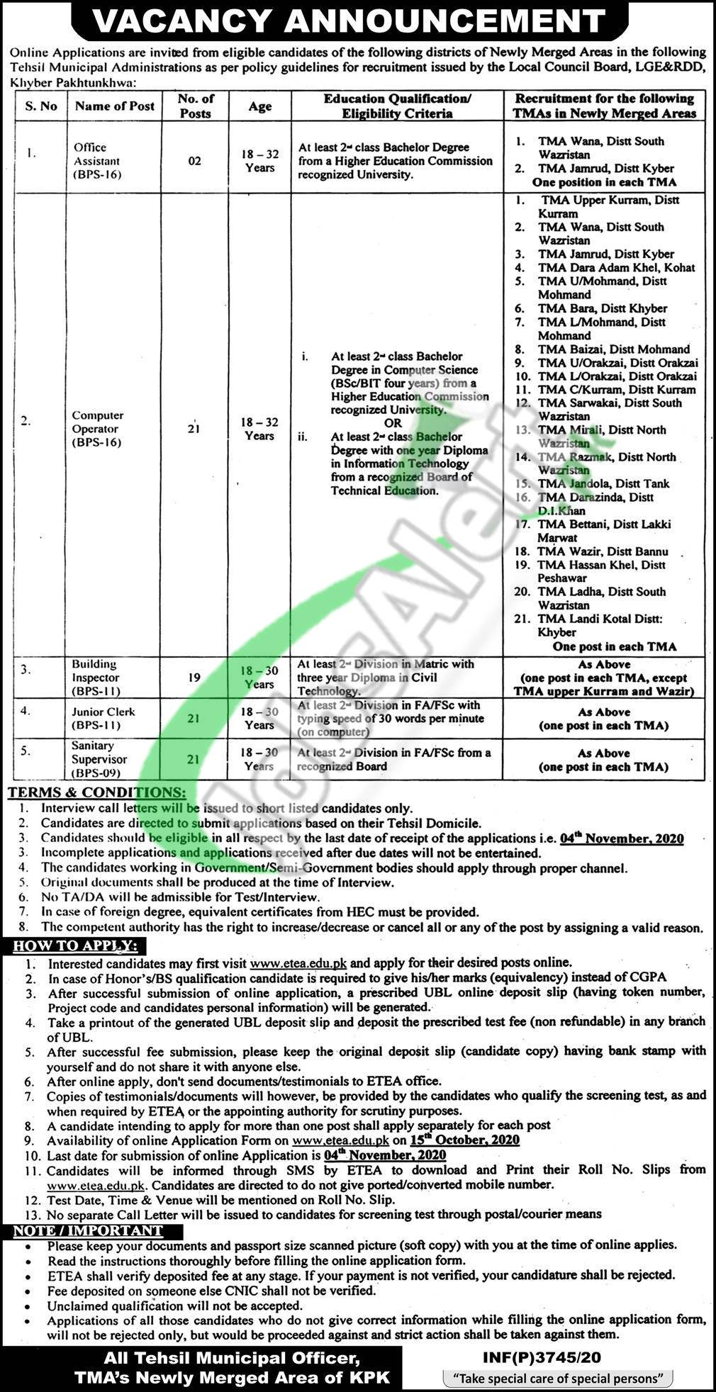 Local Govt & Rural Development Department Peshawar Jobs