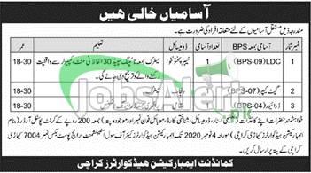 Pak Army Embarkation Headquarters Karachi Jobs