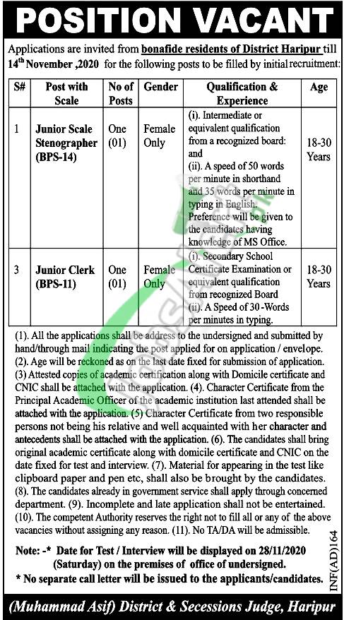 District & Session Court Haripur Jobs