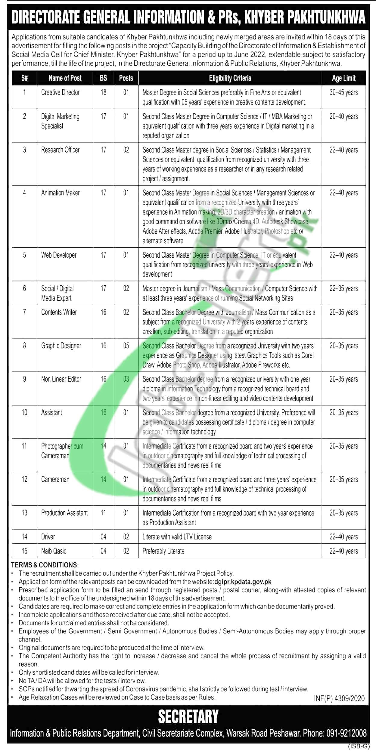 Information and Public Relation Department KPK Jobs