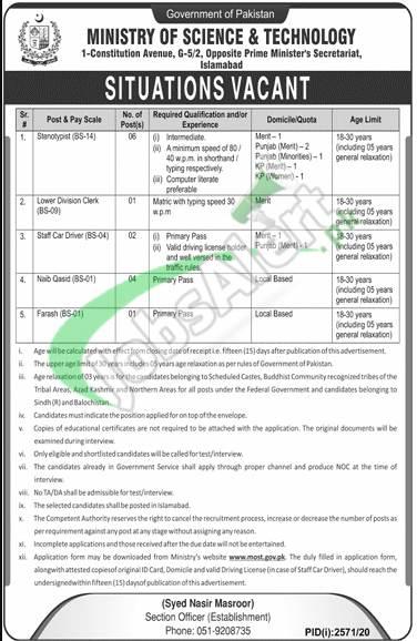 www.most.gov.pk Jobs