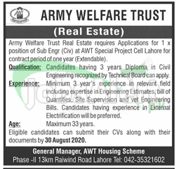 Army Welfare Trust Lahore Jobs