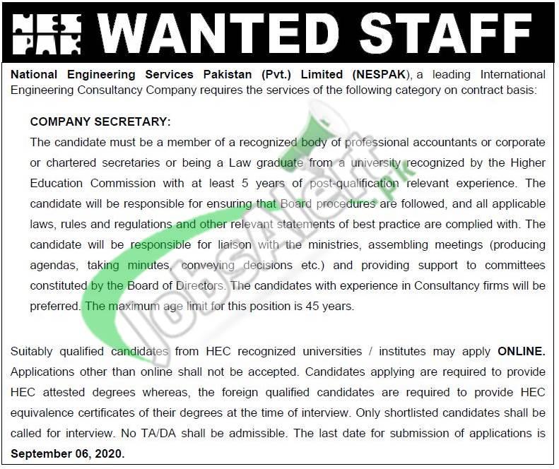 www.nespak.com.pk Jobs