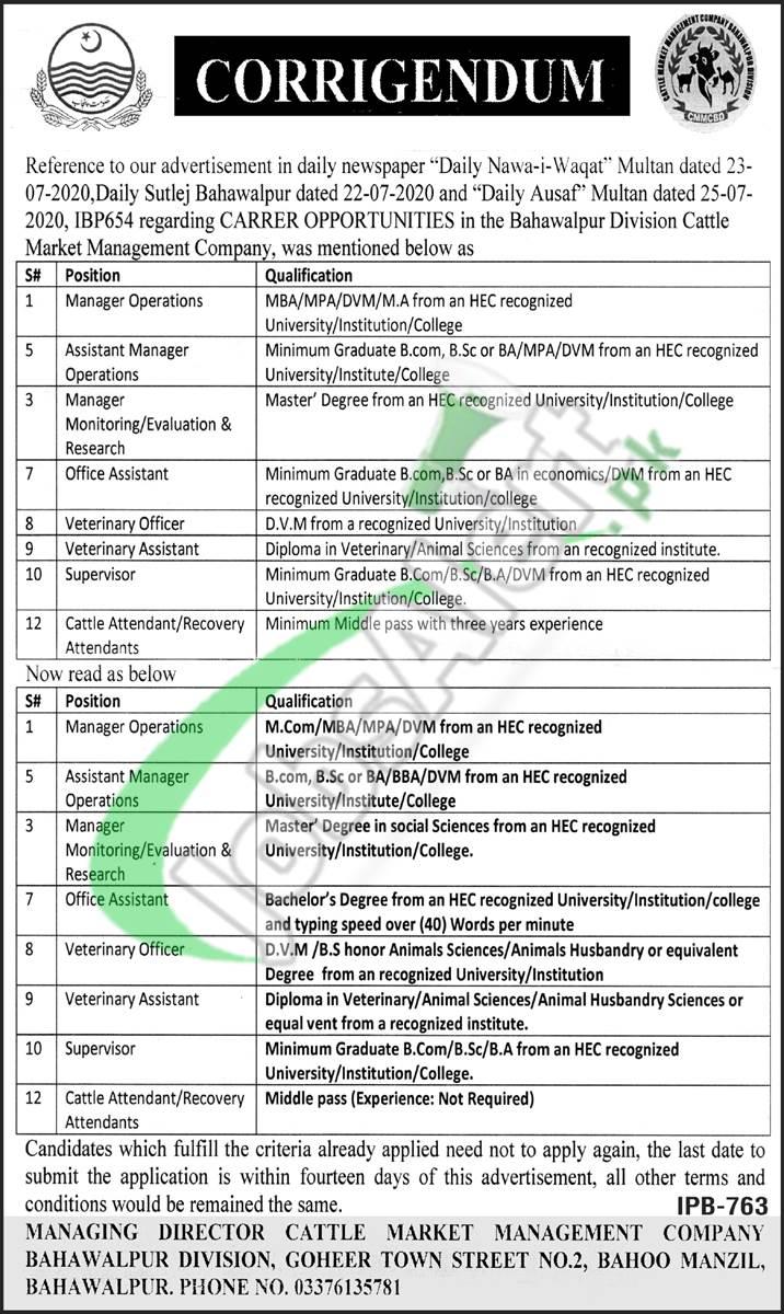 CMMC Bahawalpur Jobs