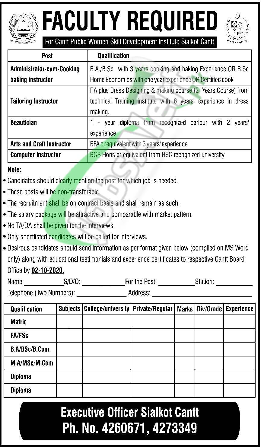 Cantonment Board Sialkot Jobs