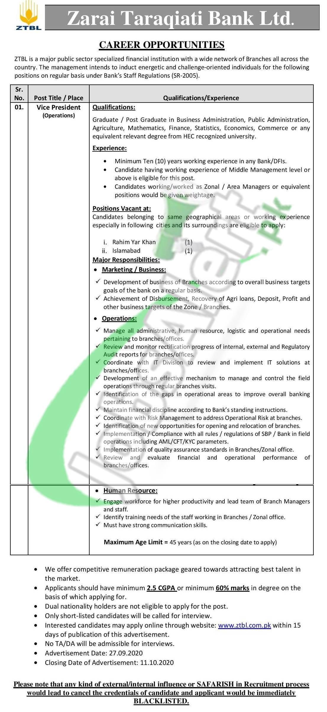 Zarai Taraqiati Bank Limited Jobs