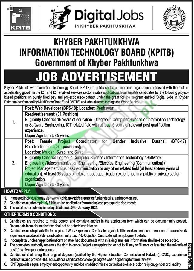 www.kpitb.gov.pk Jobs 2021
