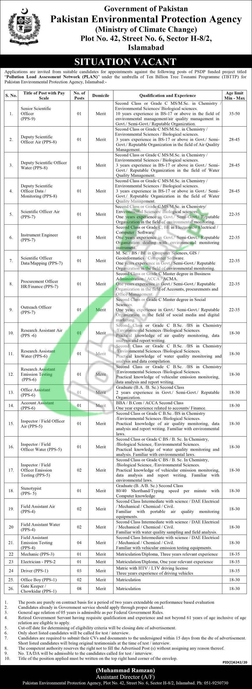 Pakistan Environmental Protection Agency Jobs