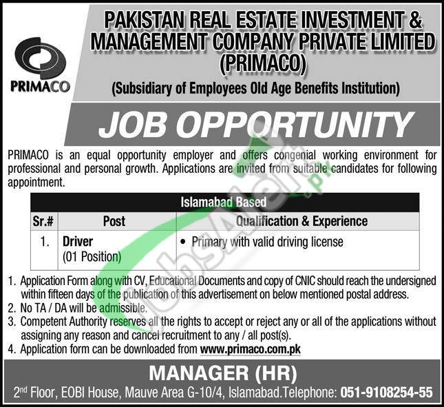 Pakistan Real Estate Investment & Management Company Jobs