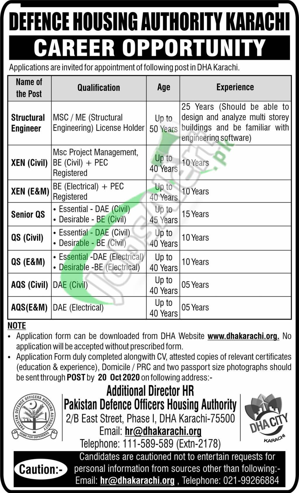 Defence Housing Authority Karachi Jobs