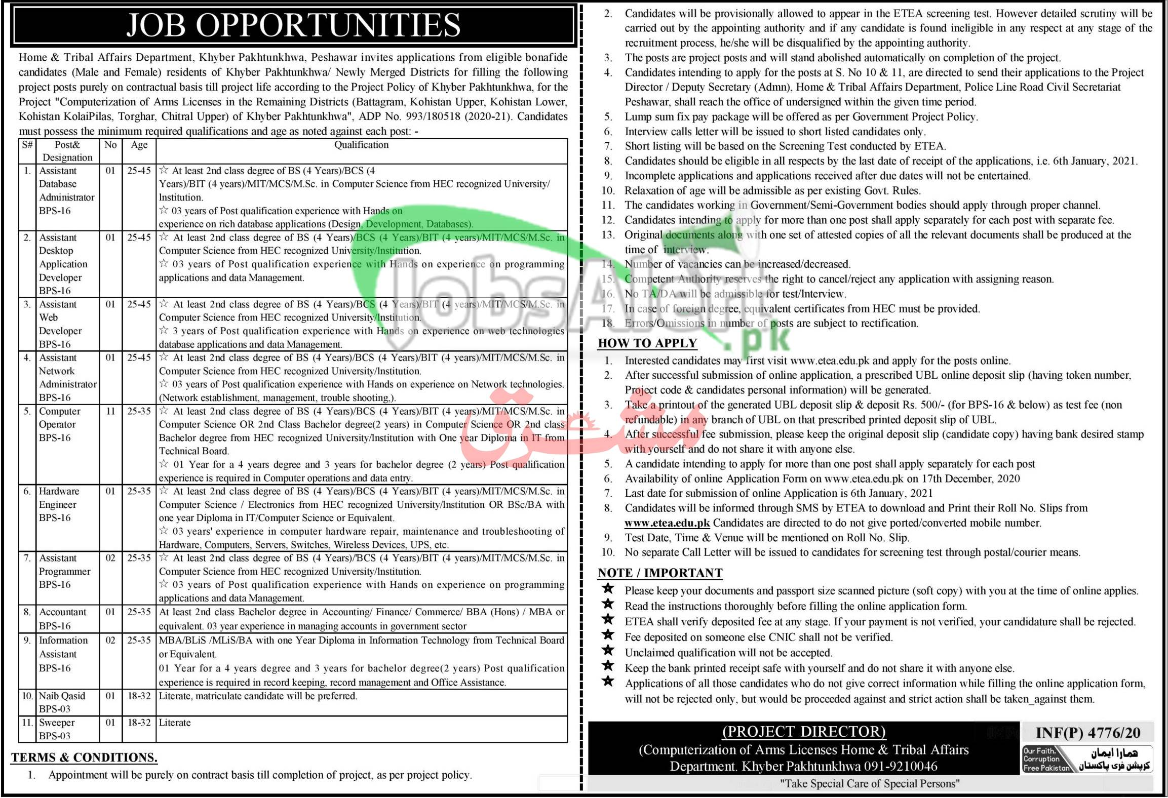 ETEA Home & Tribal Affairs Department KPK Jobs