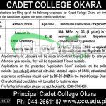 Cadet College Okara Teaching Staff Jobs 2021