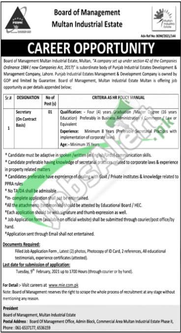 Board of Management Industrial Estate Multan Jobs