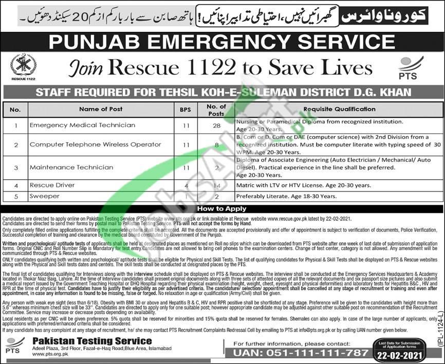 Punjab Emergency Service Rescue 1122 Jobs