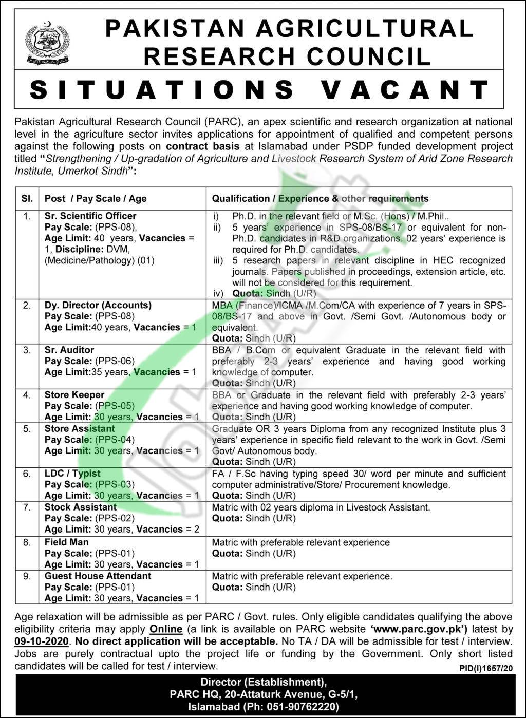 www.parc.com.pk Jobs