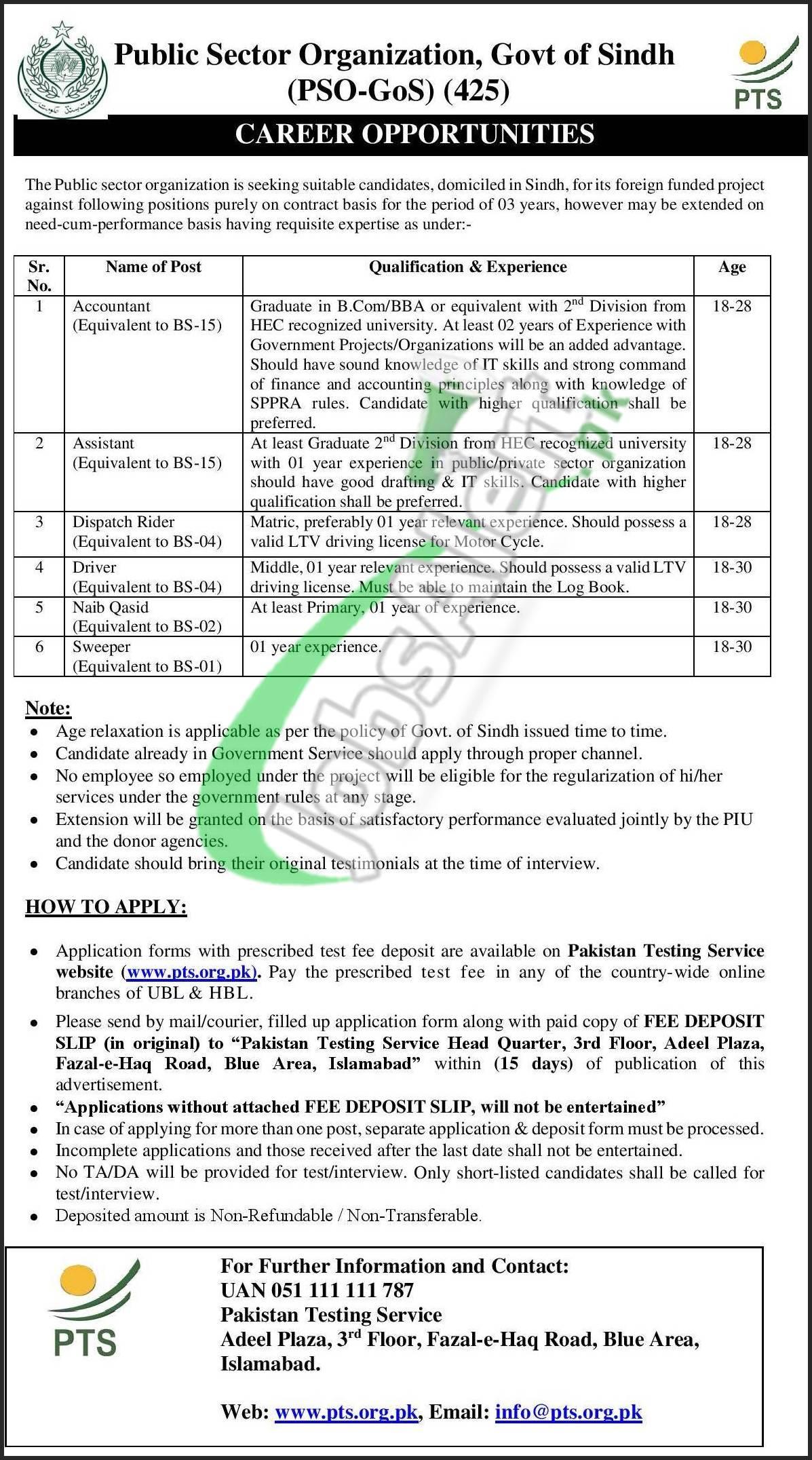Public Sector Organization Sindh Jobs