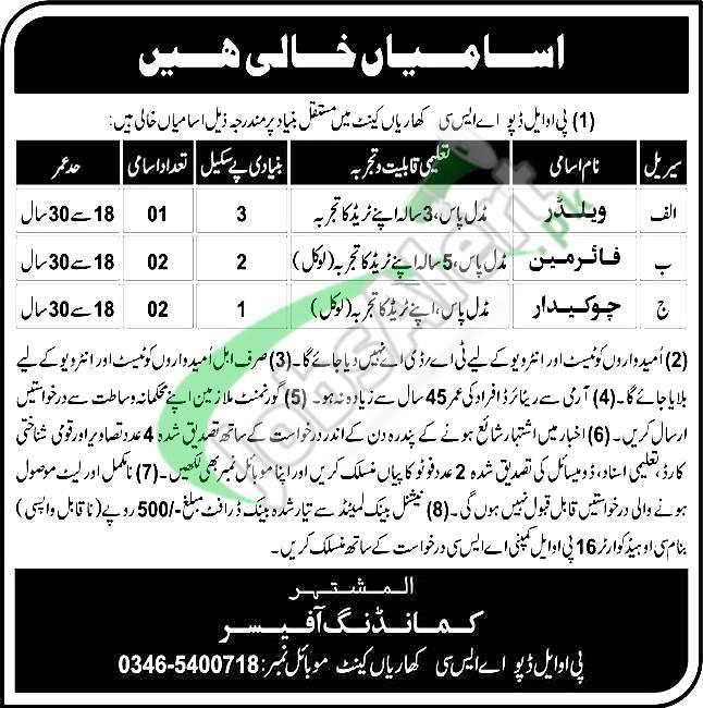 POL Depot ASC Kharian Cantt Jobs