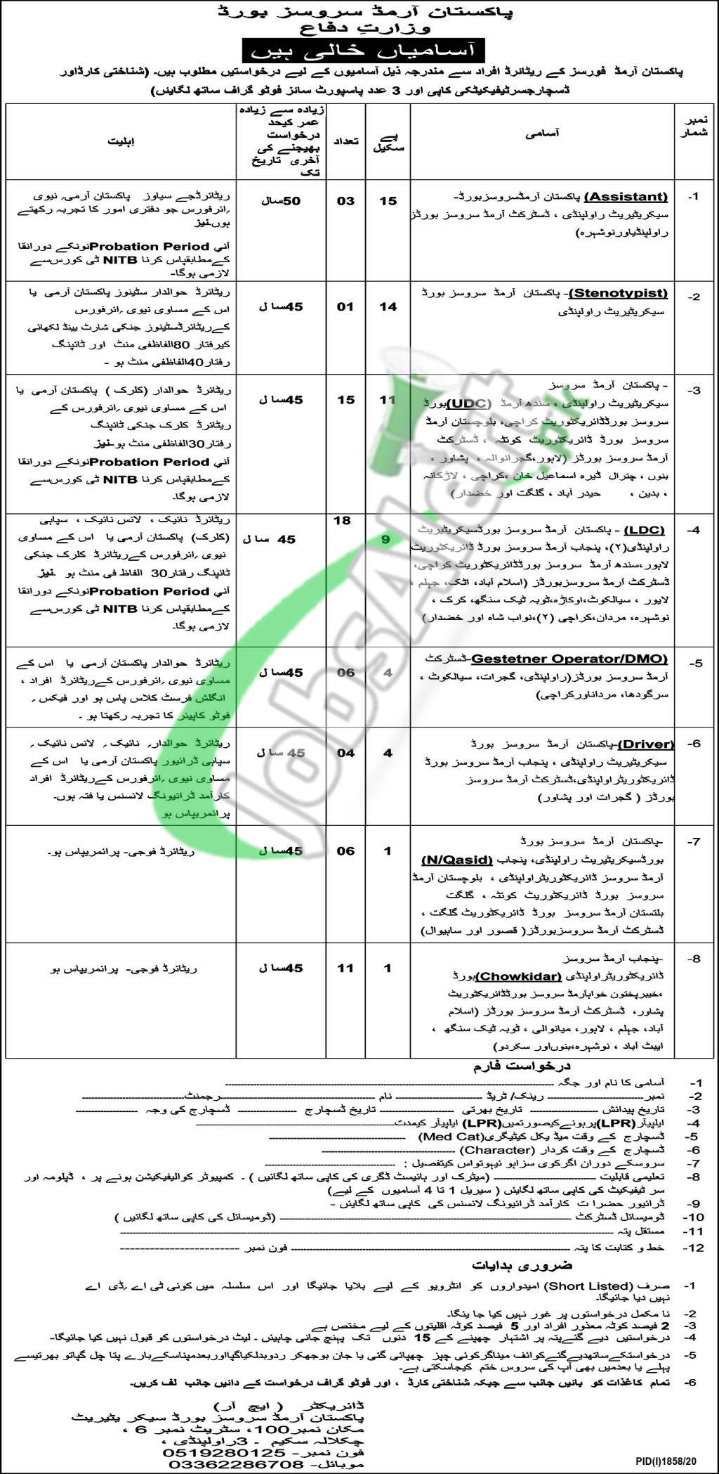 Pakistan Armed Services Board Jobs