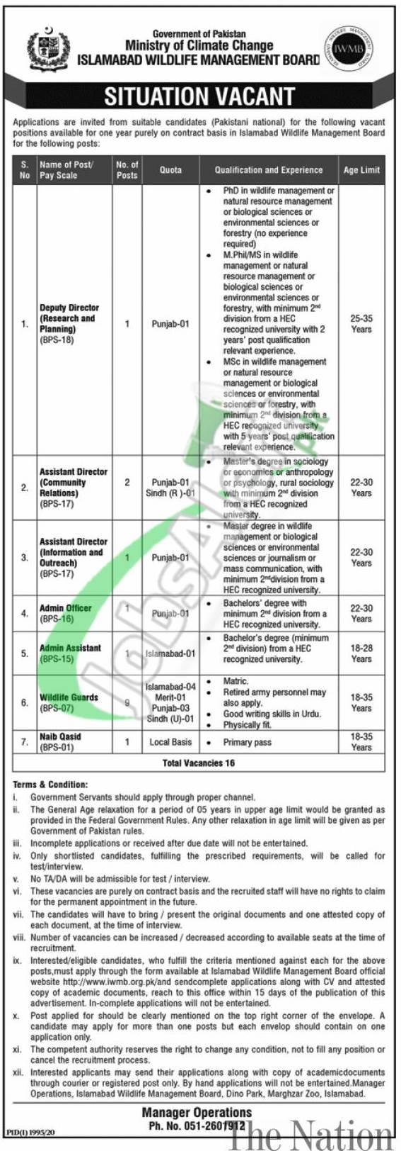 Islamabad Wildlife Management Board Jobs