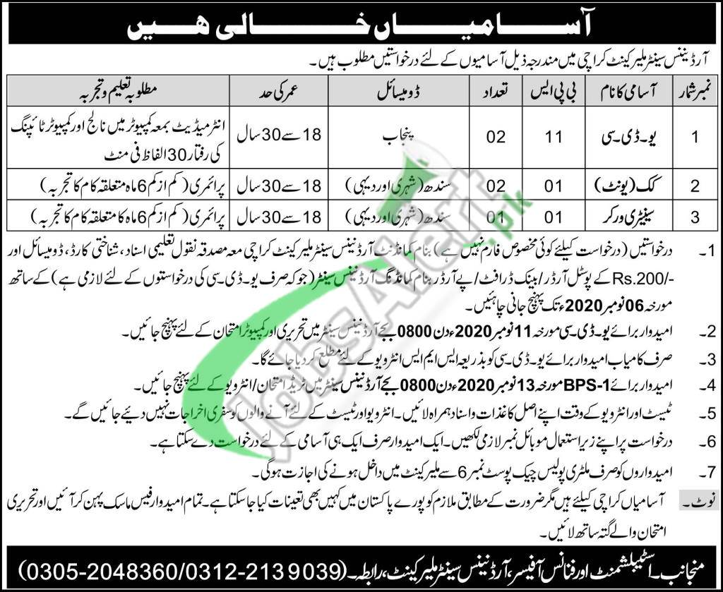 Ordnance Center Malir Cantt Karachi Jobs