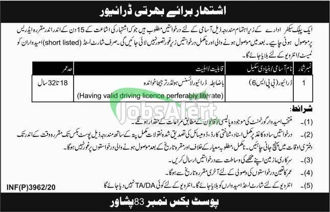 PO Box 83 Peshawar Jobs