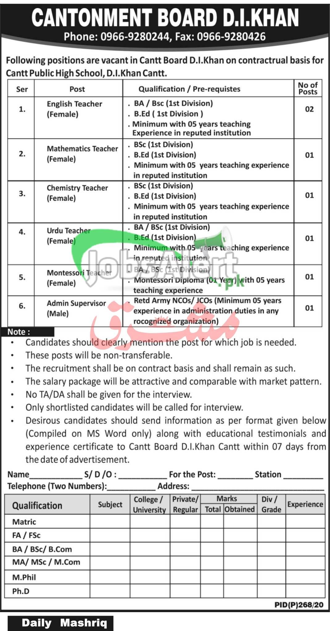 Cantonment Board DI Khan Jobs