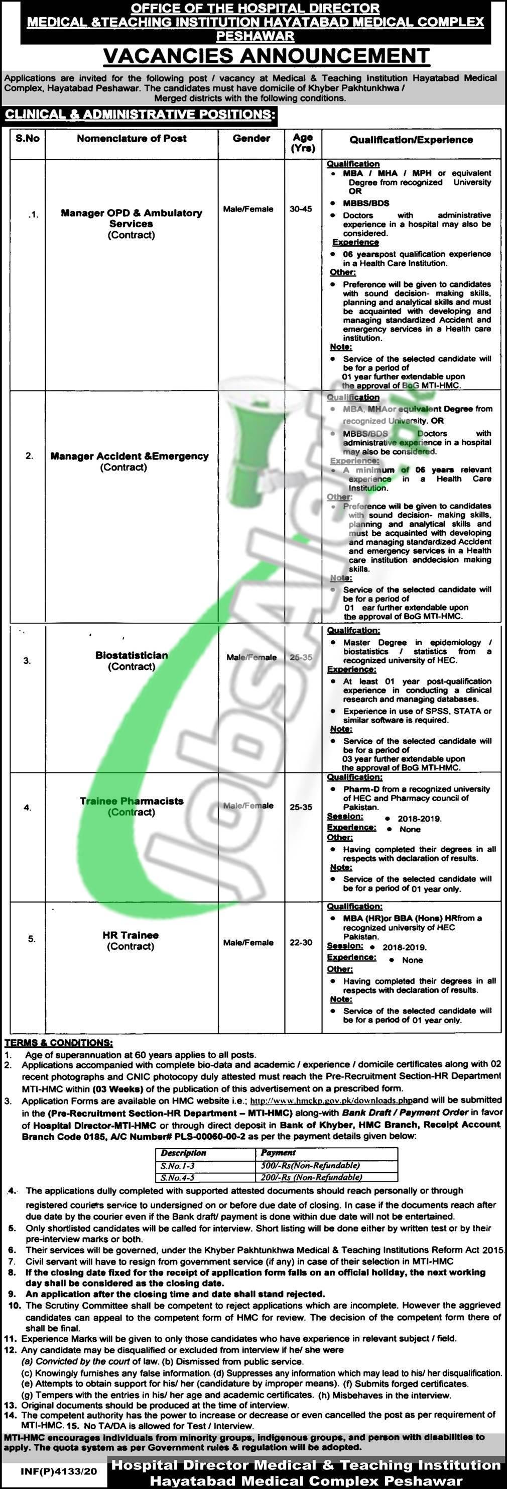 Hayatabad Medical Complex Jobs