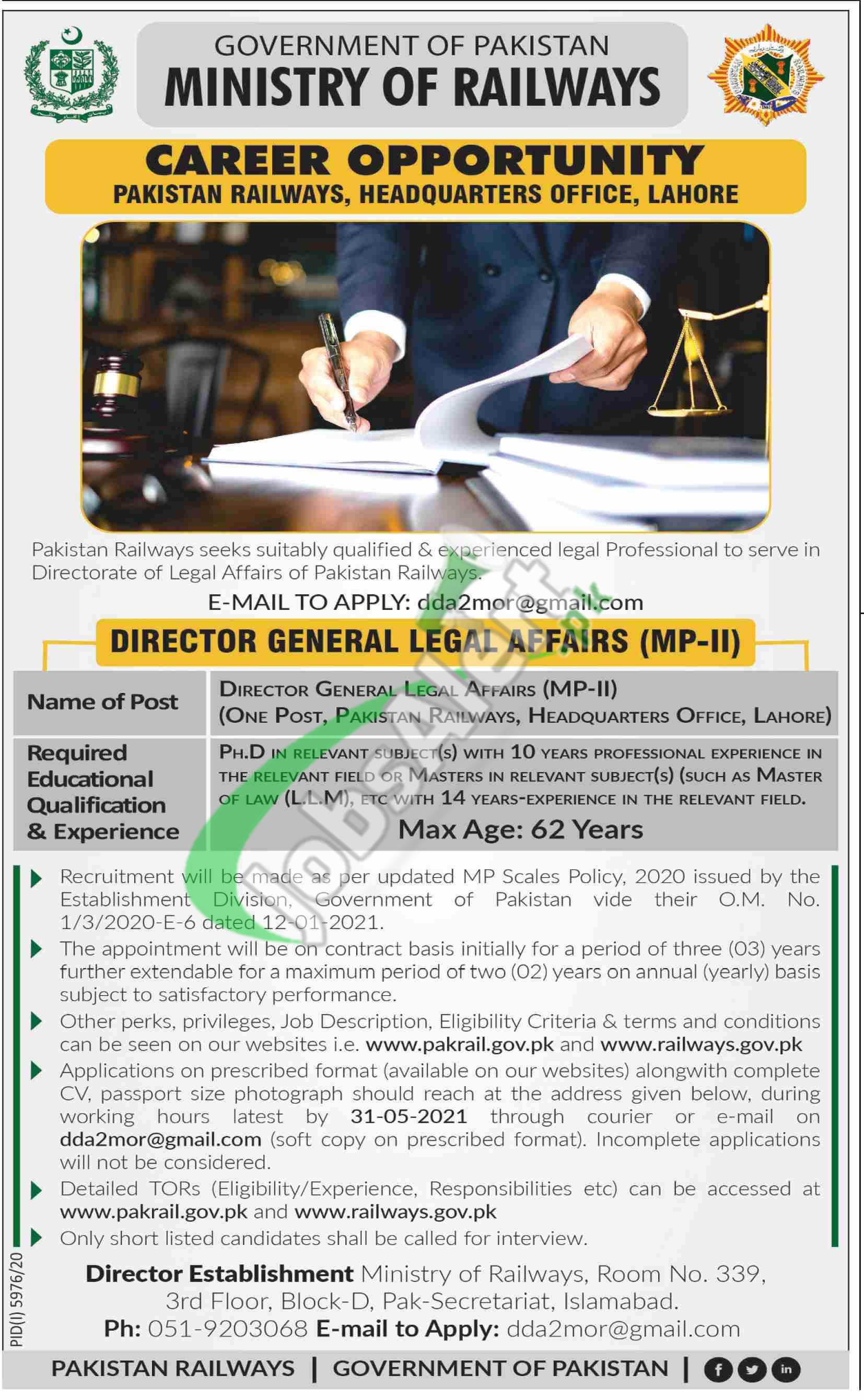 Ministry of Railways Jobs 2021 Pakistan