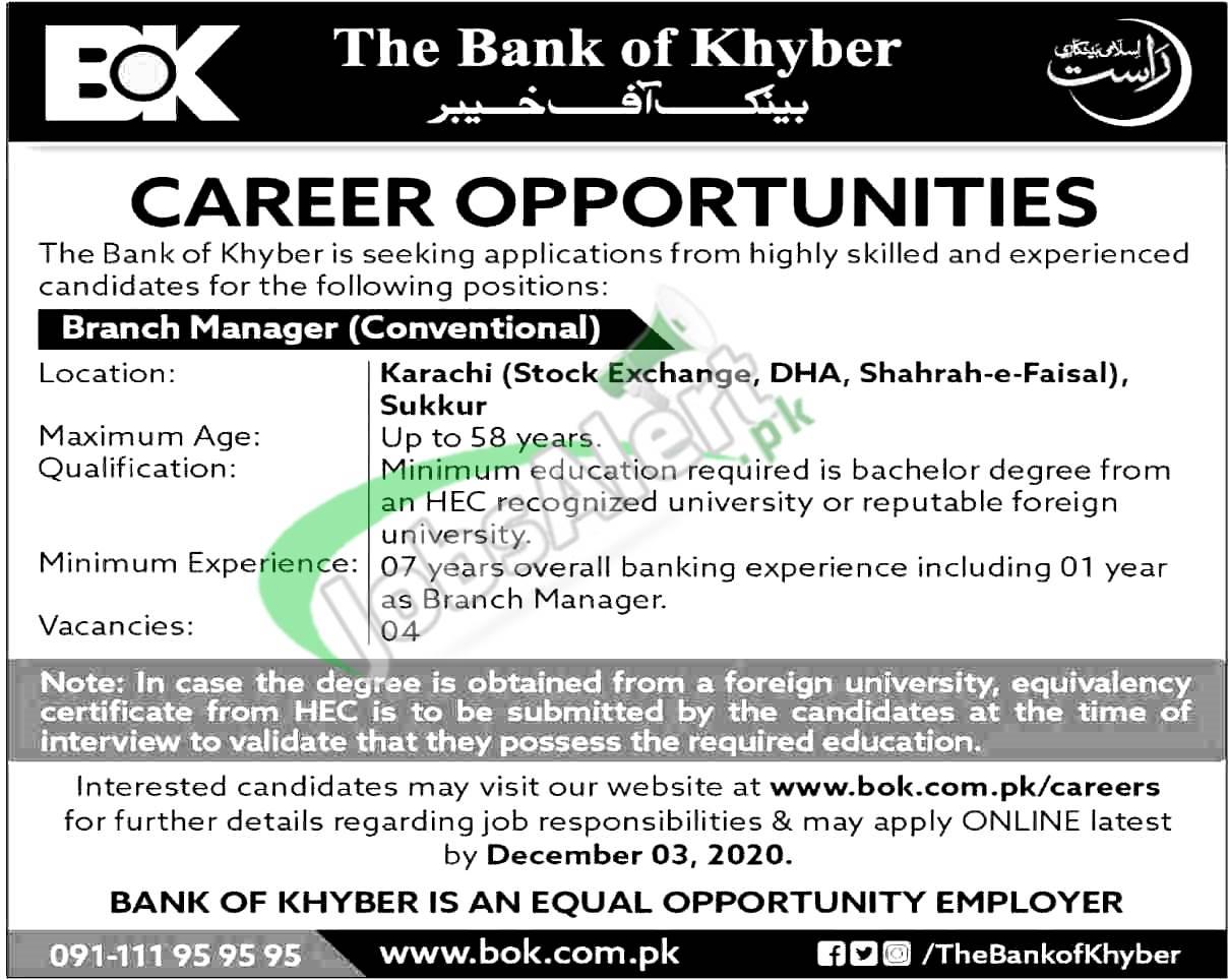 Bank of Khyber Jobs