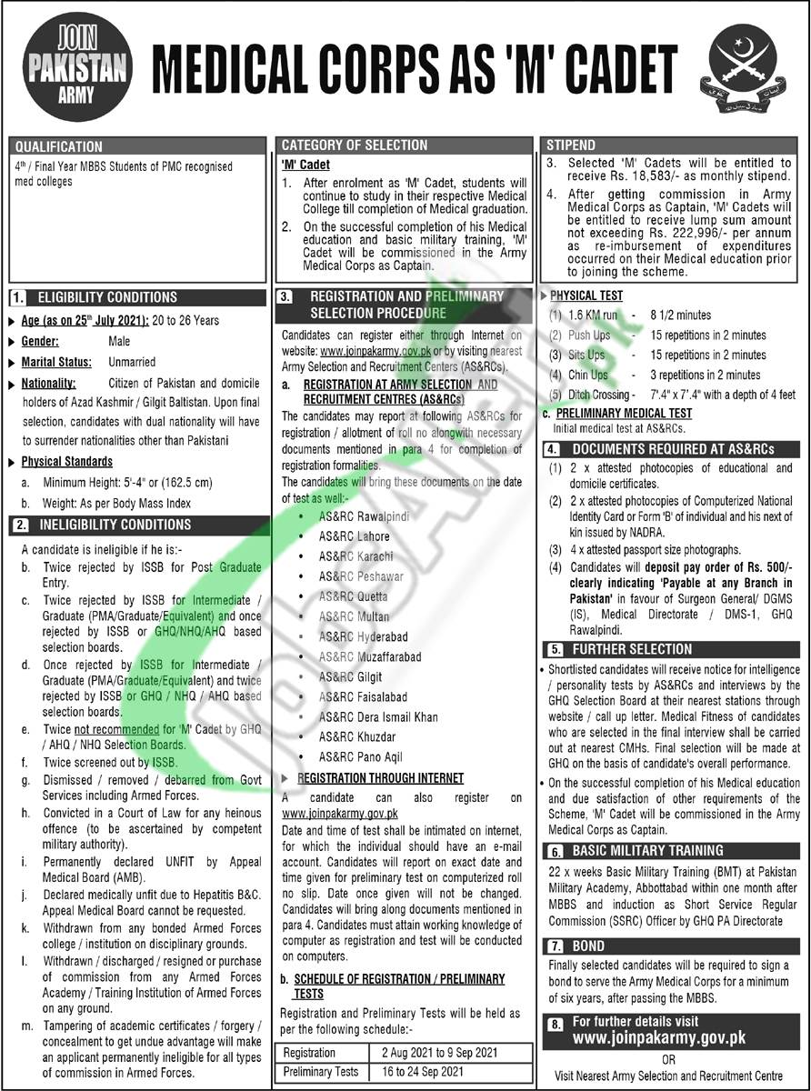 Join Pak Army as M Medical Cadet