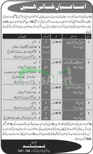 CMT and SD Golra Pak Army Jobs