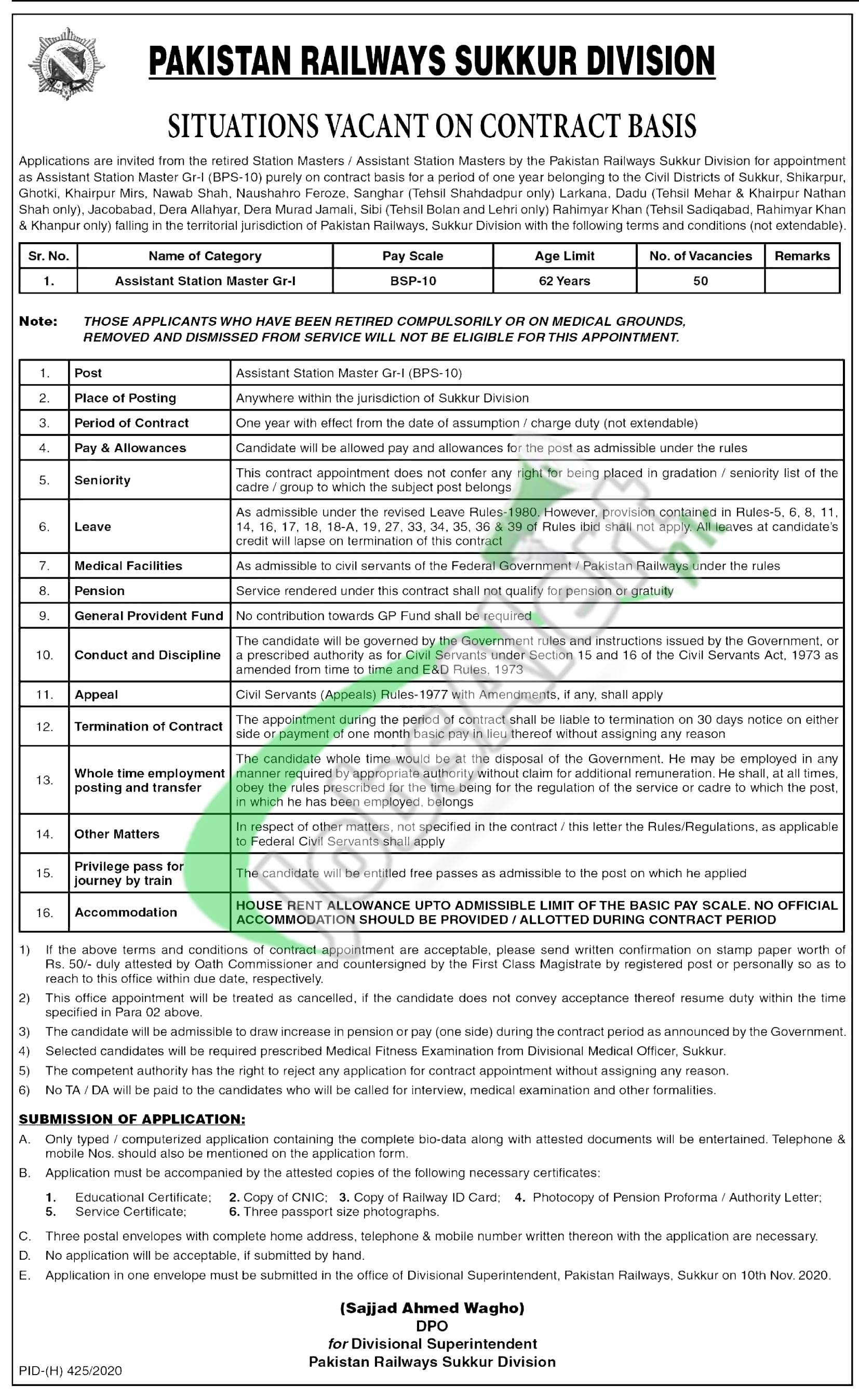 Pakistan Railway Jobs 2020 Sukkur Division