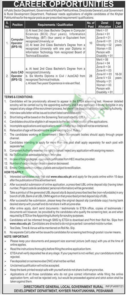 Local Govt & Rural Development KPK Jobs