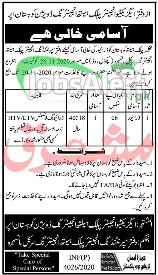 PHED Upper Kohistan Jobs