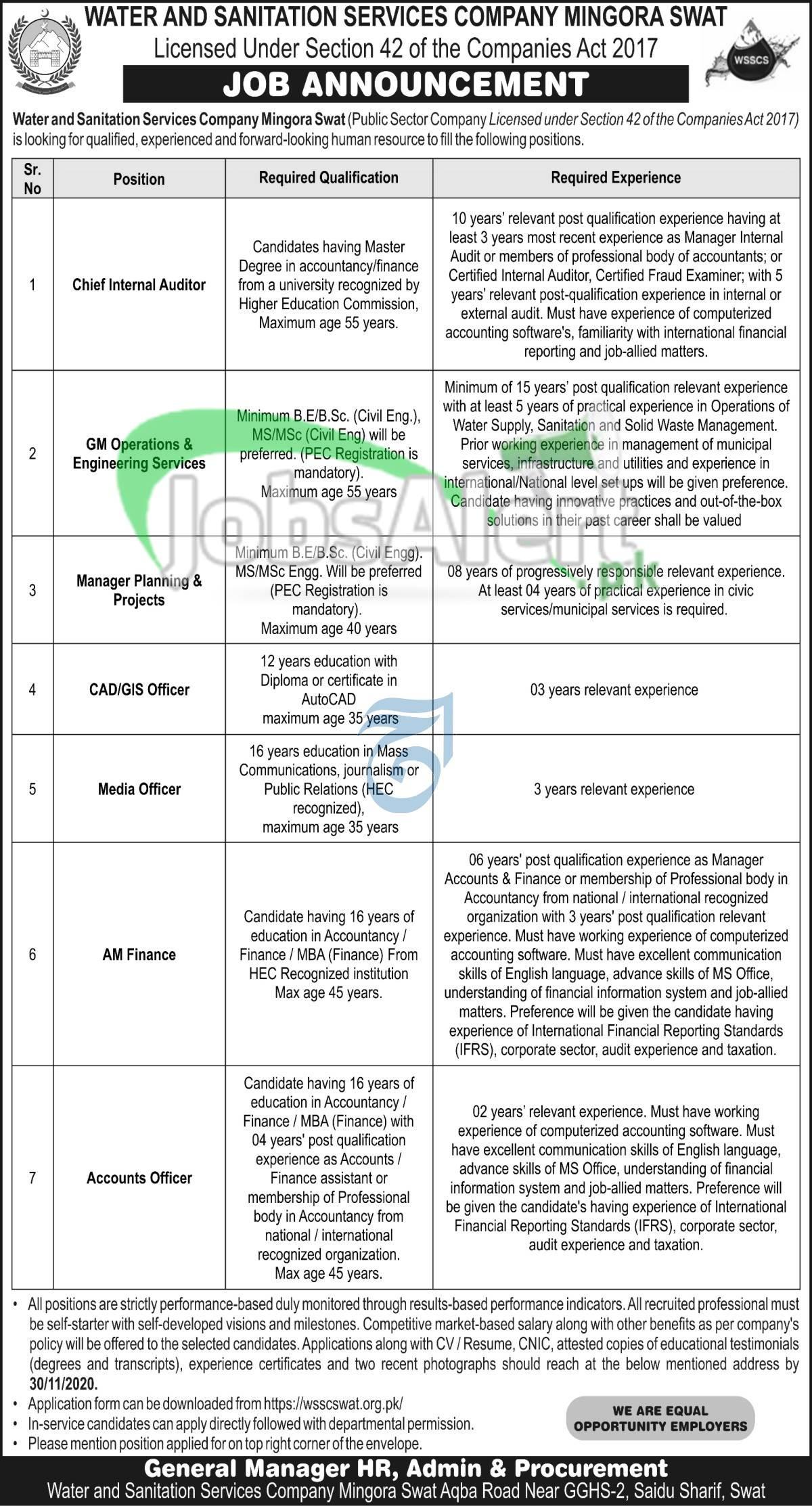 WSSC Mingora Swat Jobs