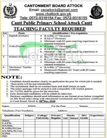Cantonment Board Attock Jobs