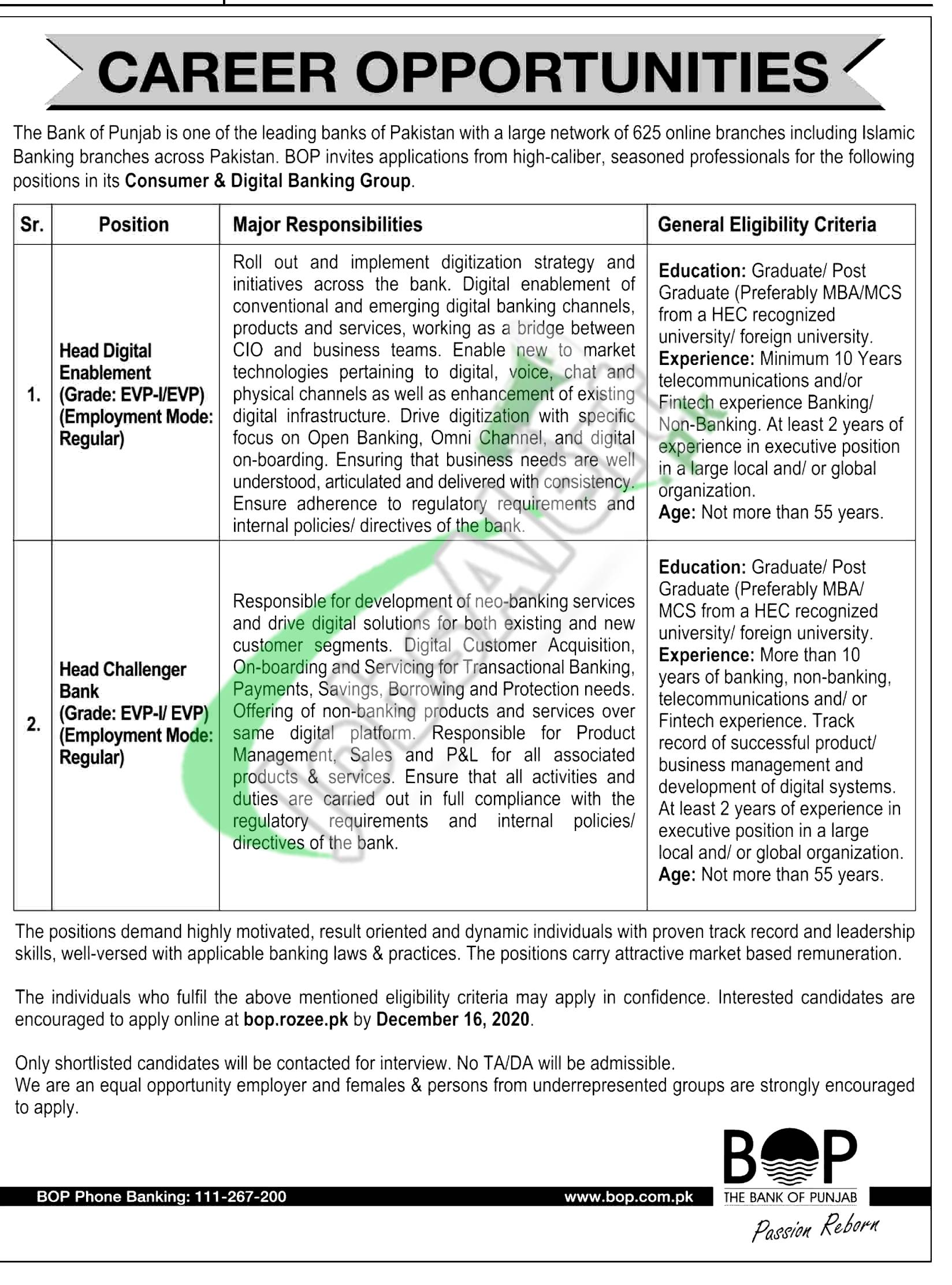 Bank of Punjab Jobs