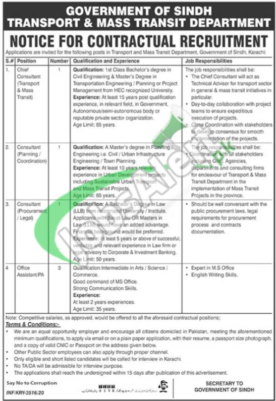 Transport & Mass Transit Department Jobs
