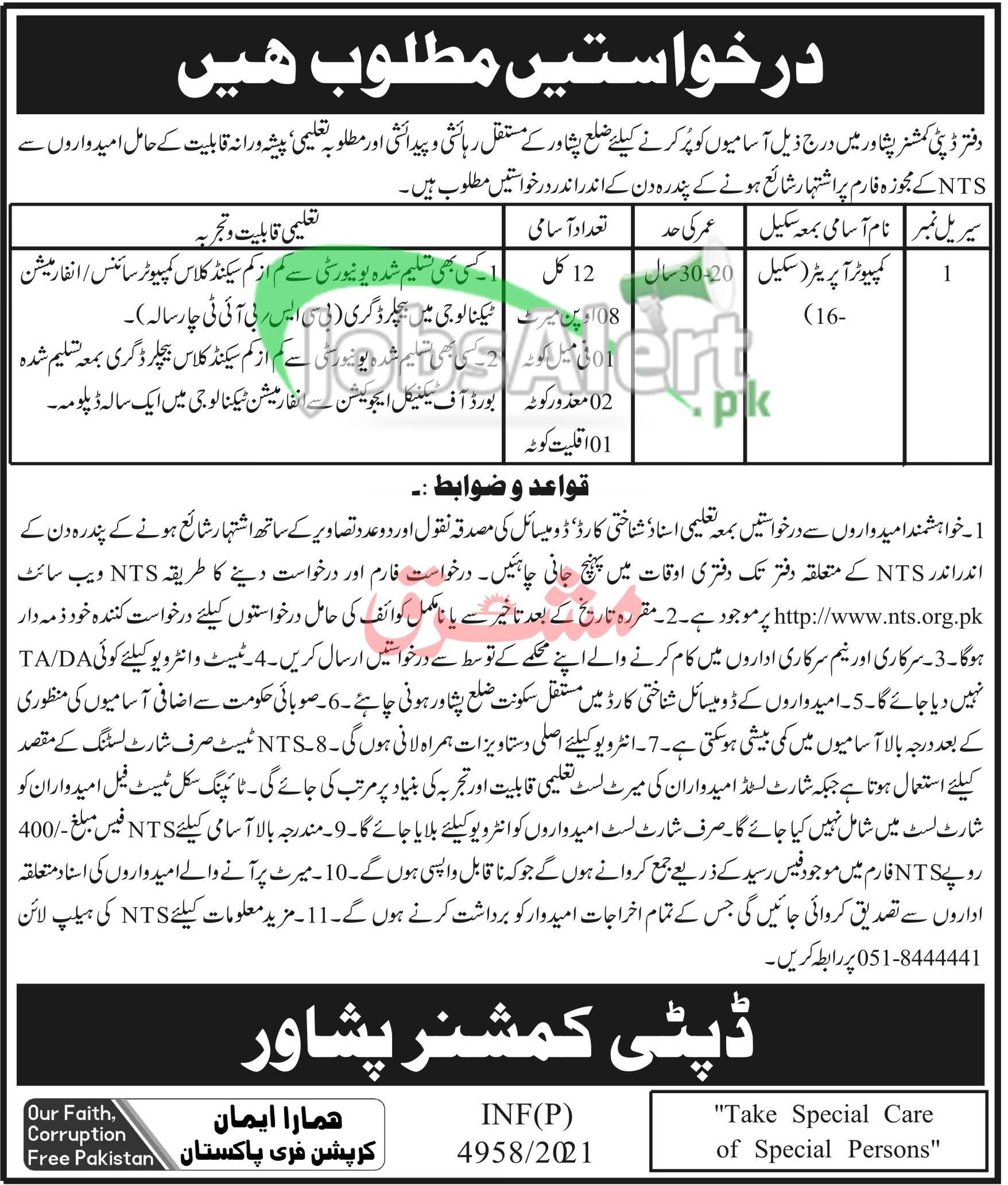 Deputy Commissioner Office Peshawar Jobs
