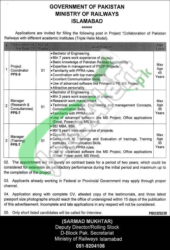 Pakistan Railway Jobs 2021