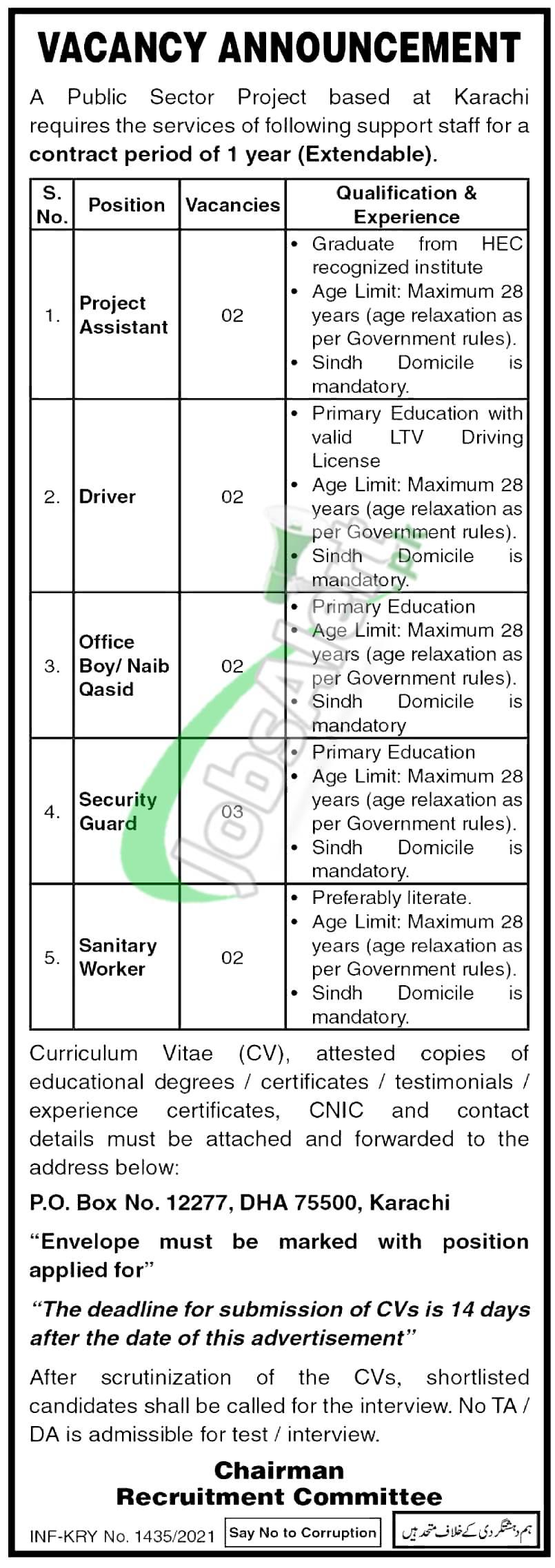 PO Box 12277 Karachi Jobs